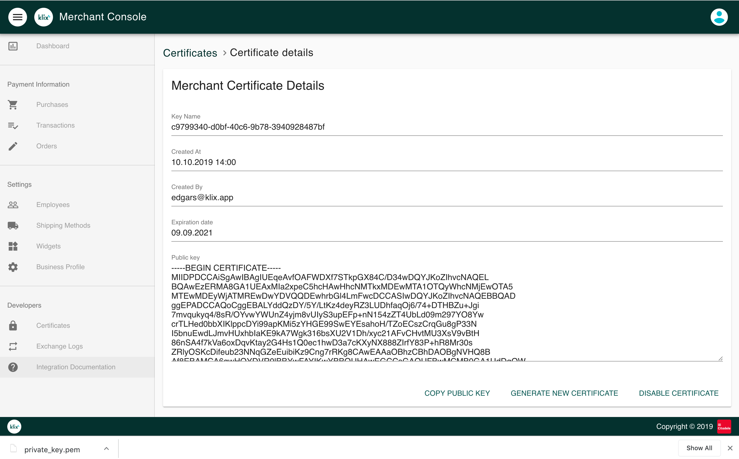 Create new merchant certificate